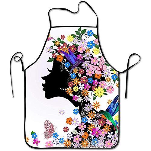 Katrine Store Tablier à bavette pour Fille et Papillon avec Fleurs, Professionnel, Unisexe et Durable