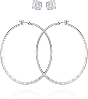 GUESS Women's Hoop Ear with Crystal Stud, Gold, One Size