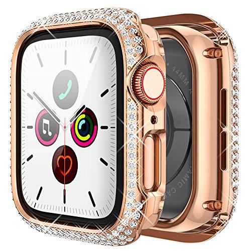 wlooo Glitter Diamante Funda para Apple Watch Series 6/5/4/SE 44mm, Bling Cristal Shiny Niñas Mujeres Carcasa Metal Inoxidable Protectora Anti-Arañazos Case Cover para iWatch Serie 6 SE 5 4 (Oro rosa)
