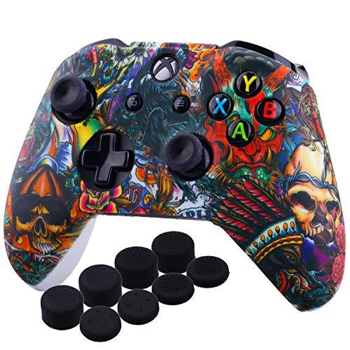 YoRHa Druck Gummi Silikon Hülle Skin Taschen für Xbox One S/X Controller x 1 (Bestien) Mit PRO Daumengriffe Aufsätze Joystick-Kappen Thumb Grip x 8