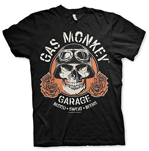Gas Monkey Garage Offizielles Lizenzprodukt Skull groß & hoch (3XL, 4XL, 5XL) T-Shirt (Schwarz), 4X-Large