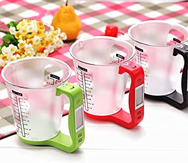 1Pcs Digital Kitchen Electronic Measuring Cup Scale Household Jug Scales with LCD Display Temp Measurement 16x12.5x13.5cm (Bl