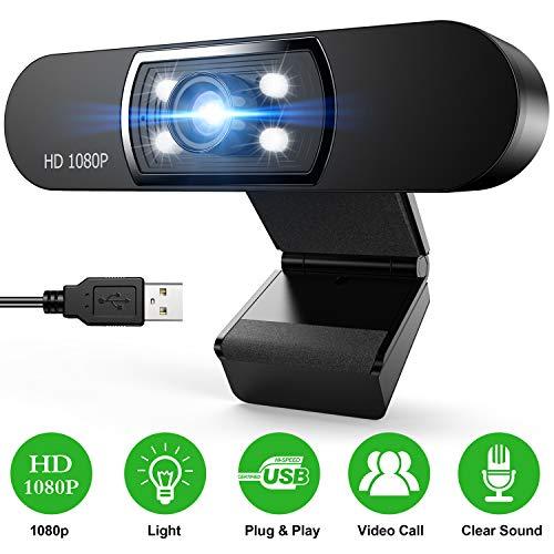 Zacro Webcam mit Mikrofon, Full HD 1080p/30fps Rottable Eingebautes Doppelter Rauschunterdrückung Mikrofon Clip On für Online-Unterricht, PC, MAC, Laptop, Skype Video Talk