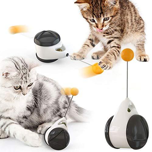 Juguete inteligente para gato con ruedas automático, sin necesidad de recargar juguetes para gatos con bola, juguetes para gatos con dispensador de alimentos, rompecabezas de entretenimiento