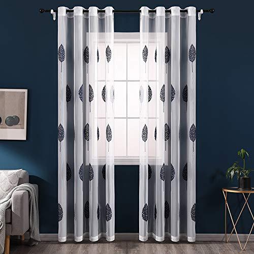 MIULEE 2 Unidades Cortinas Bordado Translucida de Dormitorio Moderno V