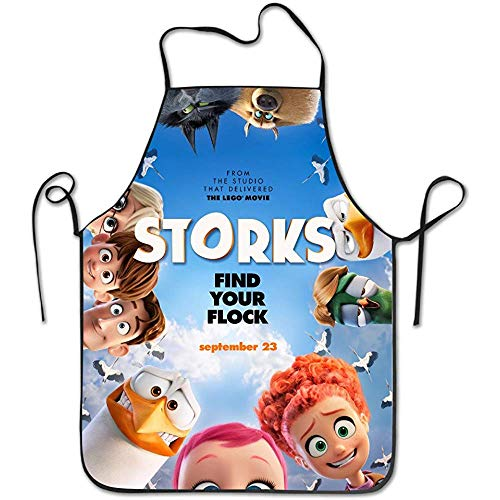 BURAK BULBUL Women's Apron - Storks Poster Kitchen and Cooking Apron, Durable Stripe for Cooking, Grill and Baking