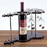 HUANGRONG Estante para Botellas Madera Soporte de la Botella de Vino Violín y cubilete de Cristal Estante Colgante Decorativo Vaso Y for Bar Gadget Craft Ornamento Accesorios