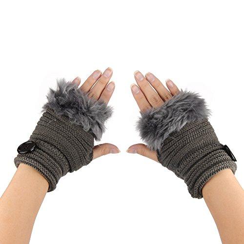 Damen Fingerlose, Faux Kaninchen Pelz Winter Warm Fäustlinge Handwärmer Wrist Warmers Gestrickte Handschuhe mit Tasten