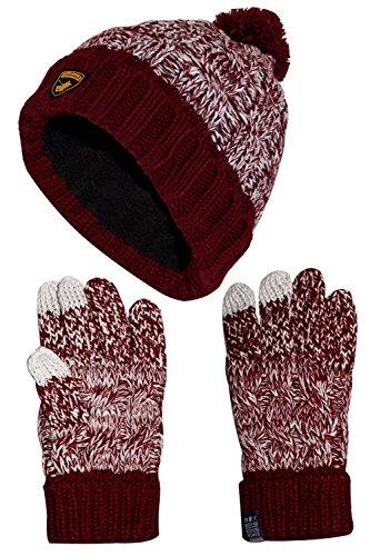 True Gezicht Unisex Cabel Knit Touch Handschoenen Vrouwen Cap Pom Pom Bobble Hoed