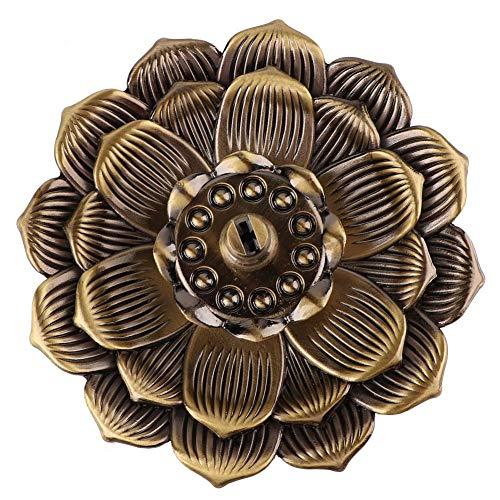 Yivibe Incensario de Cobre, Mano de Obra Fina Incensario de Incienso Multifuncional en Forma de Loto de Color Simple, Resistente para el hogar de Incienso de Hilo(Lotus III Bronze)