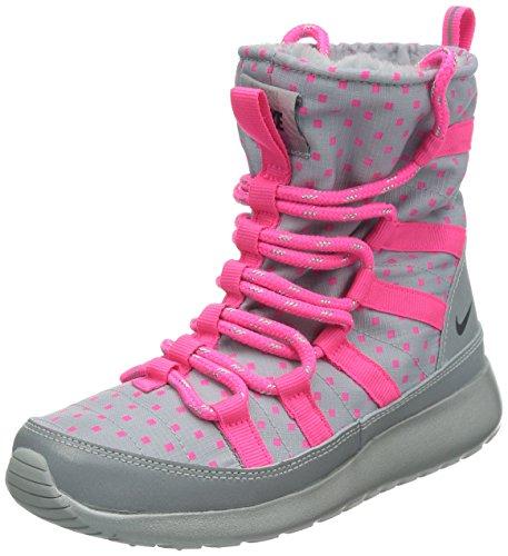 Nike Roshe Run Hi Sneaker Boot, (grigio lupo/rosa rosa/argento riflettente/nero), 38 EU