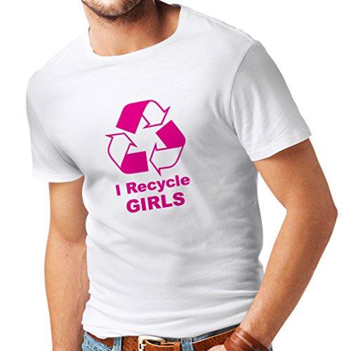 lepni.me N4036 Camiseta I Recycle Girls Gift (X-Large Blanco Magenta)