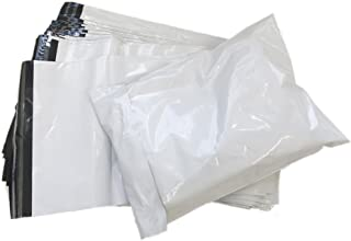 【DENGDING】 100枚入り 宅配ビニール袋 W250×H345+フタ50mm 梱包 厚み0.06mm 透けない 白 A4サイズ ワンタッチテープ 強力テープ付き 薄手 軽量 防水(25x35x100)