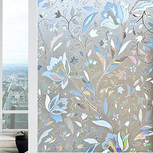 Bloss Tulip Frosted Window Film Stain Glass 3D Static Cling Paper Privacy Film for Bathroom Home Door Kitchen Living Room Office Meeting Room 17.7' x 78.7'