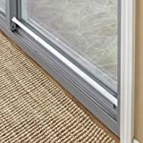 """The Lakeside Collection Sliding Door Security Bar with Rubber Tips - White - 1"""" Dia. x 26"""" to 48"""" L"""