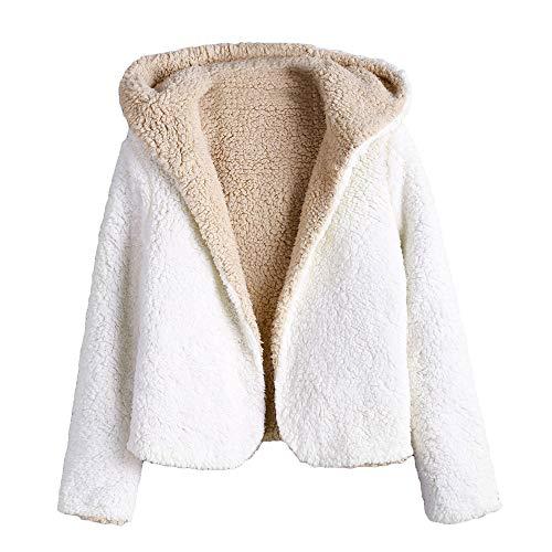 ZAFUL Cappotto con Cappuccio da Donna Invernale Teddy Reversibile Cardigan con Cappuccio Hooded Felpa Outwear (L, Caldo Bianco)