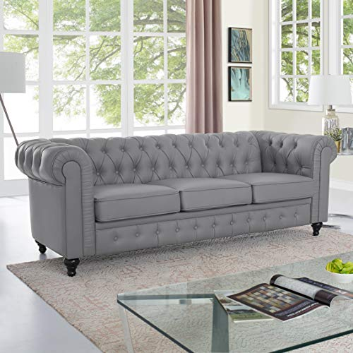 Naomi Home Emery Chesterfield Sofa with Rolled Arms, Tufted Cushions Gray