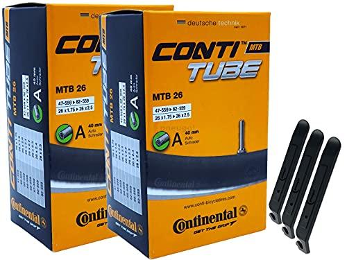 pneugo! Set 2 x Continental Fahrradschlauch 26 Zoll Autoventil 47-559/62-559 (MTB) + 3 Reifenheber