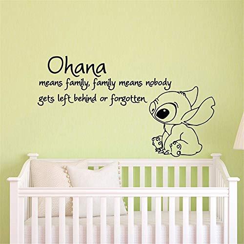 Stich-Abziehbild-Stich-Aufkleber-Zitat Ohana bedeutet, dass Familie bedeutet, dass niemand zurückgelassen wird oder vergessenes Wandgemälde Lovely Lilo And Stitch Room Decor Wandtattoo Kinderzimmer