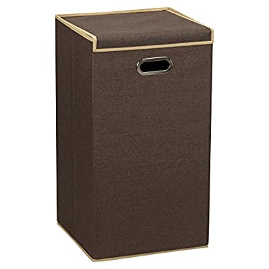 Household Essentials 5612 Collapsible Single Laundry Hamper with Magnetic Lid | Brown Coffee