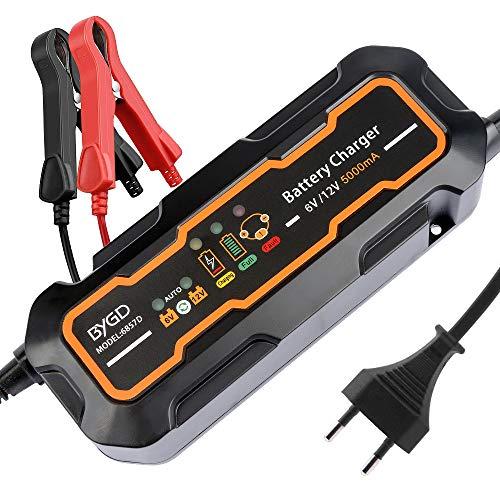 TCOCHE Caricabatteria, 12V / 6V 5A Portatile Automatica Caricabatteria per Auto con Batteria Caricatore a 3 Fasi Carico, Motocicli, ATV, Camper, Batterie al Piombo per Batterie Gel AGM