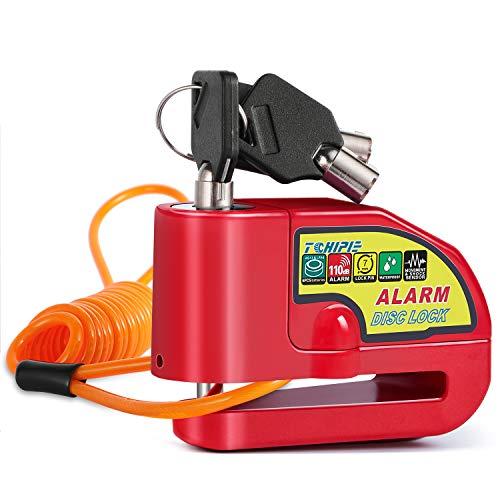 Tchipie Bremsscheibenschloss Alarm Rot, Alarm Disc Lock mit 1,5m Orange Erinnerungskabel, Schwarze Gürteltasche Fahrradschloss Wasserdicht Motorradschloss mit Alarm, Geeignet für Yamaha
