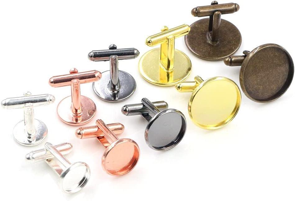 L2S 10pcs/ Lot 10mm 12mm,14mm,16mm,18mm,20mm, 6 Colors Plated Copper Cufflink Base Cuff Link Settings Cabochon Cameo Base - Rose Gold - 18mm