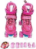 KMILE Patines en línea Patines de Rodillos para niños para 2 en 1 patín Quad Skates Ajustables Patines para Mujeres niñas niños pequeños 12-4 años Set de Regalos de cumpleaños, Rosa-m