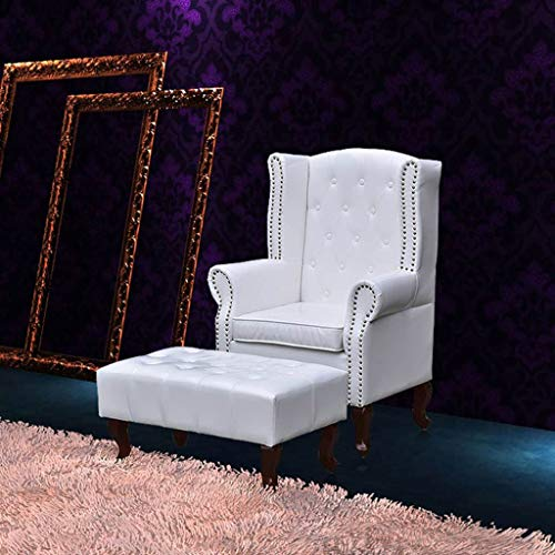 Zora Walter 100% PVC Chesterfield Ohrensessel mit Fu?hocker Wei? Couch Sofa Kunstleder Clubsessel Fernsehsessel Armlehnstuhl