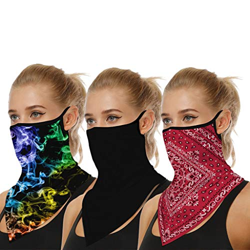 JSPOYOU 3PC Outdoor Print Seamless Ear Sports Scarf Neck Tube Face Dust Riding