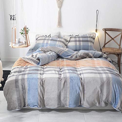 bedding duvet cover queen-Autumn and winter thick milk velvet flannel warm four-piece set Nordic style bed sheet duvet cover pillowcase gift-F_1.8m bed (4 pieces)