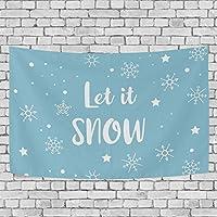 (VAWA) タペストリー 壁掛け おしゃれ 雪柄 英字柄 ブルー クリスマス飾り 装飾布 ハロウィンデコレーション インテリア 部屋 窓 大型 プレゼント 152x130cm