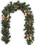 GOHHK Guirnalda navideña de Frutos Rojos, decoración navideña de 1,8 m (6 pies) con Conos de Pino y moras y moños de arpillera para escaleras de Chimenea, decoración de árboles de Navidad