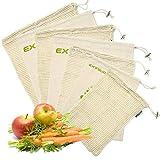 EXTSUD Organic Cotton Vegetable Bags, 7 Set Reusable Cotton Mesh Produce Bag, Mesh Vegetable Storage Bags, Veggie Bags, Cotton Potato Bag, Toy Bag, Reusable Grocery Bags Vegetable Bag (Creamy-White)