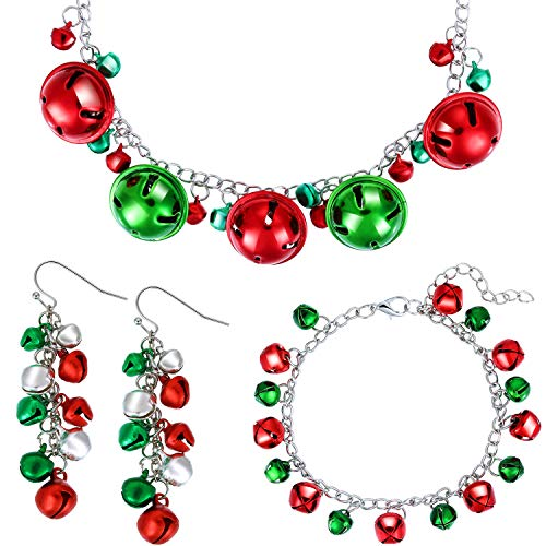 4 Pieces Christmas Bell Jewelry Set Includes Bells Necklace Bracelet Dangle Earring for Christmas Party