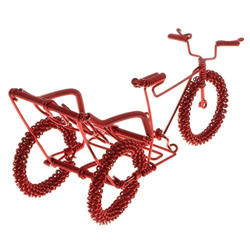 F Fityle Diecast Mini Tandem Bike Modell Handwerk Fahrrad Spielzeug Tischdeko - Rot