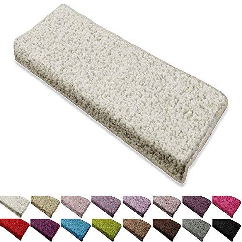 casa pura Shaggy Stufenmatten Barcelona Schutz für Treppenstufen | weicher Hochflor | GUT-Siegel und Blauer Engel | rechteckig | Einzeln oder als Set | viele Farben | 1 Stück | Creme