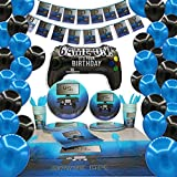 Video Game Birthday Party Supplies & Decorations Including Plates, Cups, Napkins, Forks, Spoons, Knives, Tablecloth, Banner, Balloons - 131 Piece - Serves 16 Guests