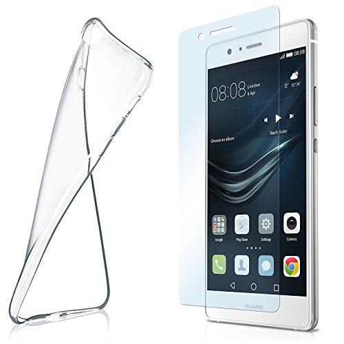 MoEx Custodia in Silicone Compatibile con Huawei P9 Lite [360 Gradi] Pellicola Protettiva in Vetro con Cover Posteriore Trasparente per telefoni cellulari Compatibile con Huawei P 9 Lite