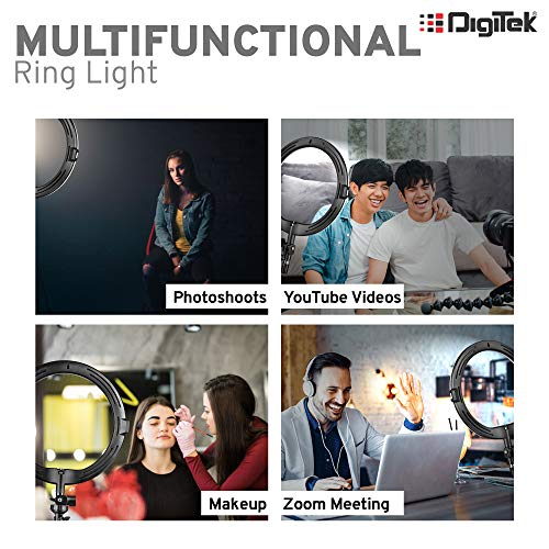 DIGITEK® (DRL 12C) Professional 30.5 cm LED Ring Light with Tripod Stand for Mobile Phones & Camera | 3 Temperature Modes Dimmable Lighting | YouTube |Photo-Shoot |Video Shoot | Live Stream | Makeup