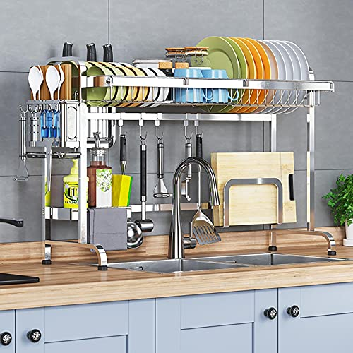 KWOPA Over The Sink Dish Drying Rack,Stainless Steel Dish Rack,Sturdy Utensil Holder With Cutting Board Holder&6 Utility Hook For Kitchen Counter-Silver single tier 66cm(26inch)