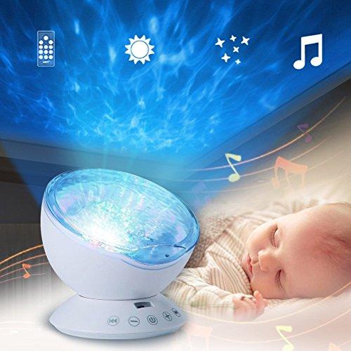 LEDMOMO Schlaf Projektion LED Nachtlicht Lampe mit 7 Lichtmodus Fernbedienung, entspannende Lichtshow für Baby Kinder und Erwachsene, Stimmungslicht für Baby Kinderzimmer Schlafzimmer Wohnzimmer
