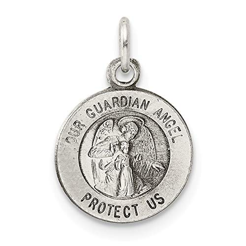 Saris and Things 925 Sterling Silber Antiqued Schutzengel-Medaille anhänger