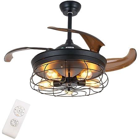 Ventilateur de plafond industriel avec éclairage et télécommande - Pales rétractables - E27 x 5,108 cm de diamètre - Pour bureau, chambre à coucher