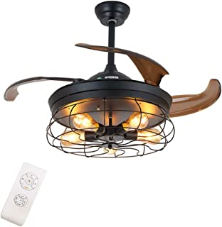 Ventilateur de plafond industriel avec éclairage et télécommande - Pales rétractables - E27 x 5,108 cm de diamètre - Pour ...