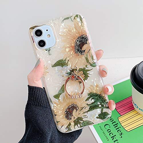 HUAI Caso de Shell Textura de la Flor del teléfono for el iPhone 11 Pro XR XS MAX 6 7 8 Plus 6S Suave IMD Dedo anular de Cristal Cubierta Trasera del teléfono (Color : R, Material : For iPhone 11)