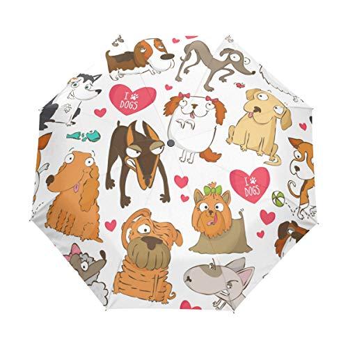 Jeansame Leuke Honden Dier Cartoon Emoji Vouwen Compacte Paraplu Automatische Regen Paraplu's voor Vrouwen Mannen Kid Jongen Meisje