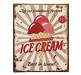 zeitzone Blechschild Homemade Ice Cream Vintage Nostalgie 25x20cm
