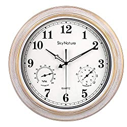 Large Outdoor Clocks, Waterproof Clock with Thermometer and Hygrometer Combo, Silent Battery Operated Vintage Metal Clock for Living Room, Patio, Garden, Pool Decor - 18 Inch, Brush White