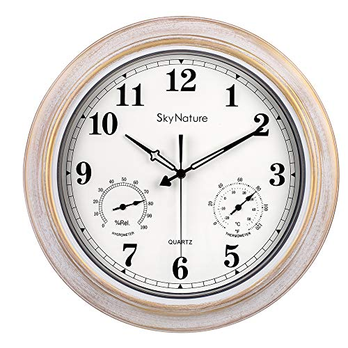 Große Outdoor-Uhr, wasserdichte Uhr mit Thermometer und Hygrometer-Kombination, leise batteriebetriebene Vintage-Metalluhr für Wohnzimmer, Terrasse, Garten, Pool Dekor - 45,7 cm, Bürstenweiß
